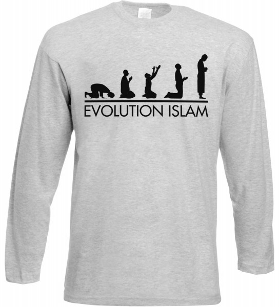 Evolution Islam Langarm T-Shirt - Muslim Halal Wear Grey