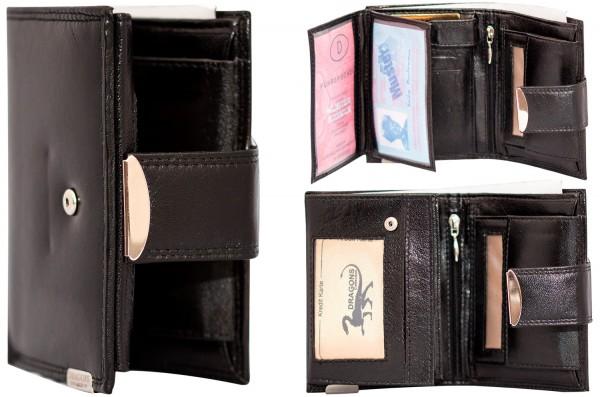 Herren Portemonnaie Leder Dragon G510 Schwarz Hochformat Geldbörse Geldbeutel Brieftasche