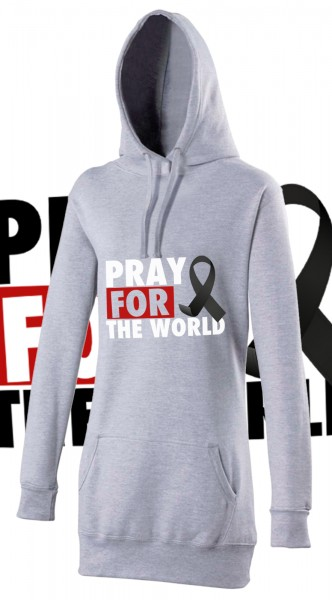 Pray for the World Woman Damen Hoody Hoodie Grau Grey mit weißer Aufschrift