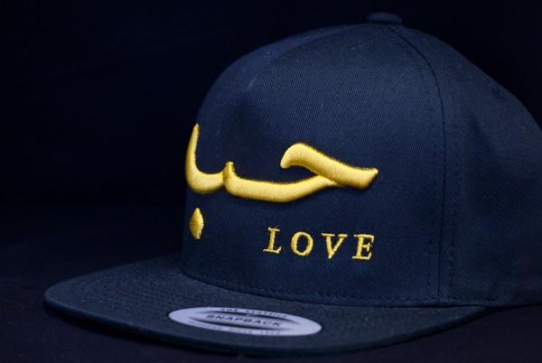 Love Snapback Blau mit 3D Gold Schrift