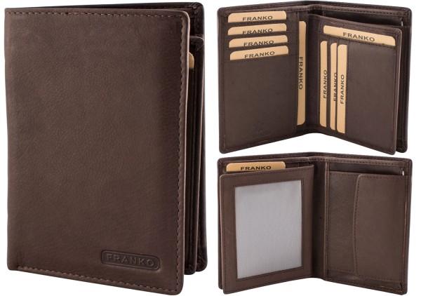 Herren Geldbörse Leder Franko 236 Hochformat Dunkelbraun Geldbeutel Portemonnaie Brieftasche