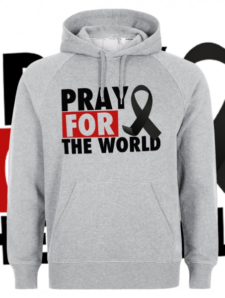 Pray for the World Kapuzenpullover Hoody Hoodie Grau Grey