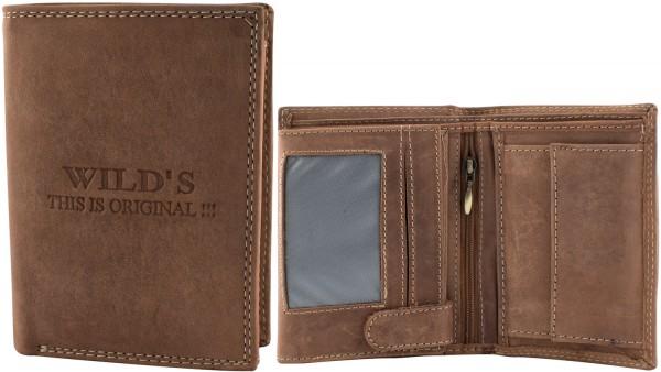 Herren Geldbörse Leder Wild W02 Dunkelbraun Hochformat Geldbeutel Portemonnaie Brieftasche