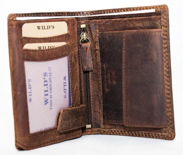 Herren Geldbörse Wild 1599 Dunkelbraun Leder Geldbeutel Portemonnaie Brieftasche Portmonee