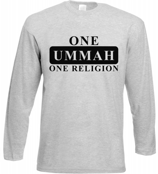 One Ummah One Religion Langarm T-Shirt - Muslim Halal Wear Grey