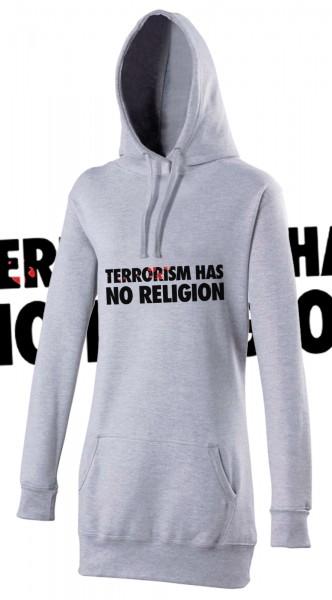 Terrorism has no Religion Woman Damen Hoody Hoodie Grau Grey