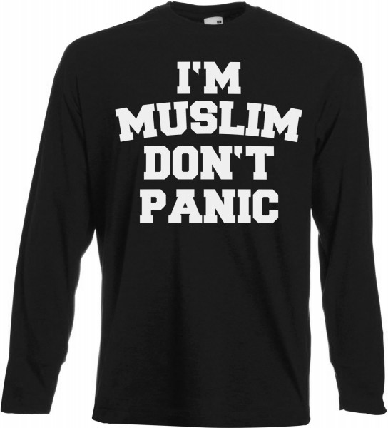 I'M Muslim Don't Panic Langarm T-Shirt - Muslim Halal Wear Black