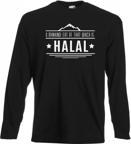 O Mankind! Eat of that which is HALAL Langarm T-Shirt - Muslim Halal Wear Black
