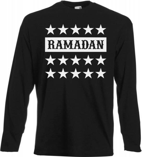 Ramadan Stars Langarm T-Shirt - Muslim Halal Wear Black