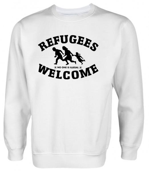 Refugees welcome Pullover Weiß mit schwarzer Aufschrift - No one is illegal