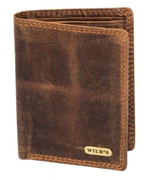 Herren Leder Geldbörse 1532 Dunkelbraun Geldbeutel Portemonnaie Brieftasche Portmonee