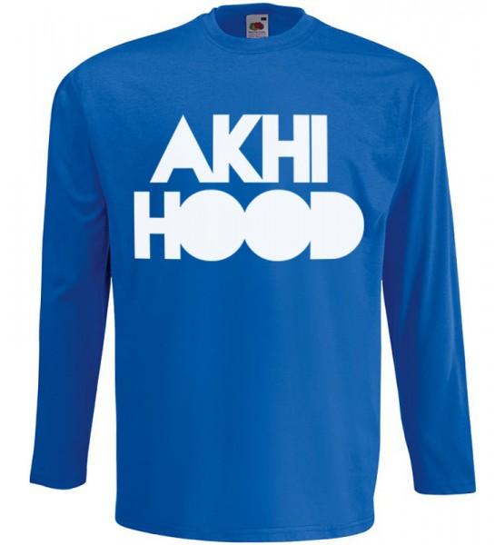 Akhi Hood Langarm T-Shirt Halal Wear Blau