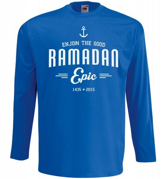Ramadan ECPIC Langarm T-Shirt - Muslim Halal Wear Blau