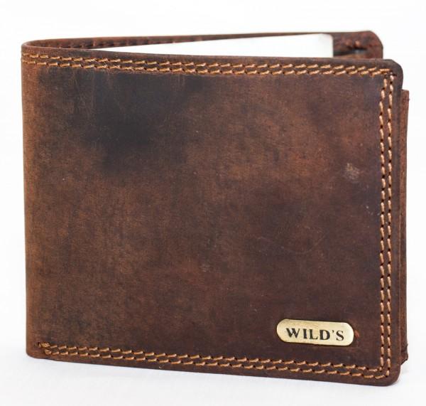 Herren Geldbörse Wild 1598 Dunkelbraun Leder Geldbeutel Portemonnaie Brieftasche Portmonee