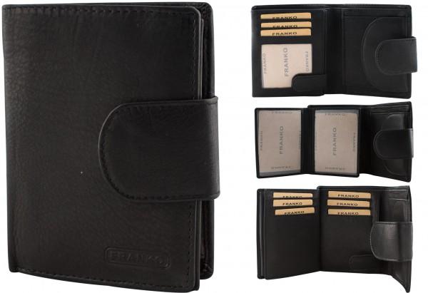 Herren Portemonnaie Geldbörse Leder Franko 7705 Schwarz Hochformat Geldbeutel Brieftasche
