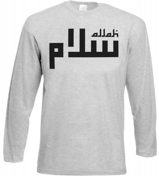 Allah Lines Langarm T-Shirt - Muslim Halal Wear Grey