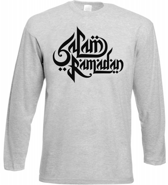 Salam Ramadan arabische Kalligraphie Langarm T-Shirt - Muslim Halal Wear Grey