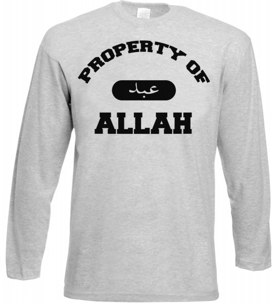 Property of Allah Langarm T-Shirt - Muslim Halal Wear Grey