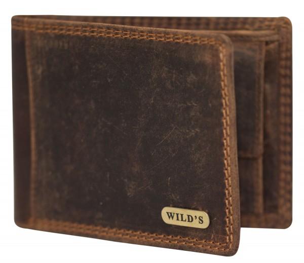 Herren Leder Geldbörse 1557 Dunkelbraun Geldbeutel Portemonnaie Brieftasche Portmonee
