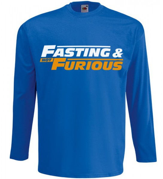 Fasting and not Furious Langarm T-Shirt Halal Wear Blau