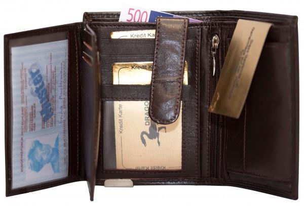Herren Portemonnaie Geldbörse Leder Dragon G1001 Dunkelbraun Hochformat Geldbeutel Brieftasche
