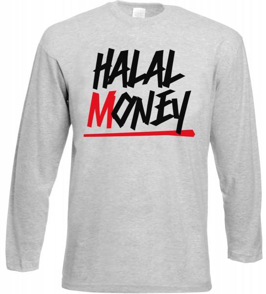 Halal Money Langarm T-Shirt - Muslim Halal Wear Grey