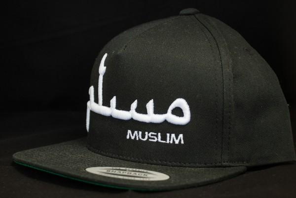 MUSLIM Snapback Schwarz mit 3D Schrift in Weiß