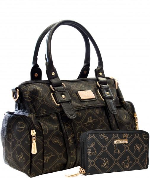 Damentasche + Damengeldbörse SET in Farbe Schwarz Marke Giulia Pieralli 26119E