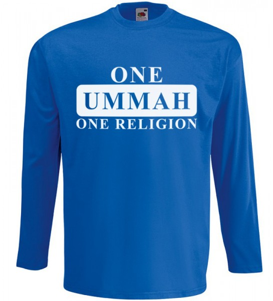 One Ummah One Religion Langarm T-Shirt Halal Wear Blau