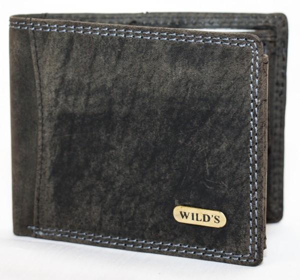 Herren Geldbörse Wild 1598 Schwarz Leder Geldbeutel Portemonnaie Brieftasche Portmonee