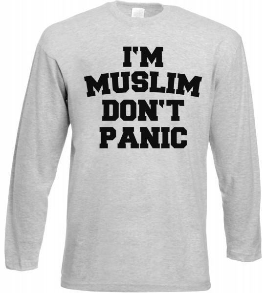 I am Muslim Dont Panic Langarm T-Shirt - Muslim Halal Wear Grey