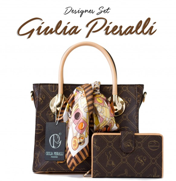 SET Giulia Pieralli Damentasche in Luxus Look als Coffee Edition / 27311 + Portemonnaie in Coffee