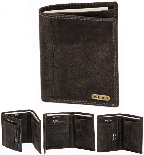 Herren Leder Geldbörse 1558 Schwarz Hochformat Geldbeutel Portemonnaie Brieftasche Portmonee