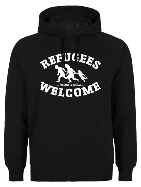 Refugees welcome Hoody Schwarz mit weißer Aufschrift - No one is illegal
