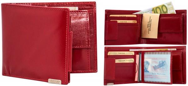 Herren Portemonnaie Geldbörse Leder Dragon G1013 Dunkelrot Querformat Geldbeutel Brieftasche