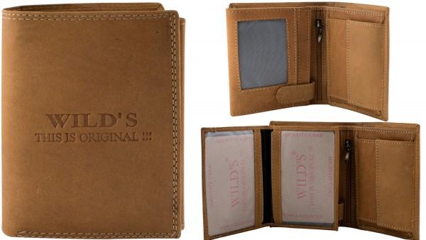 Herren Geldbörse Leder Wild W02 Hochformat Geldbeutel Portemonnaie Brieftasche