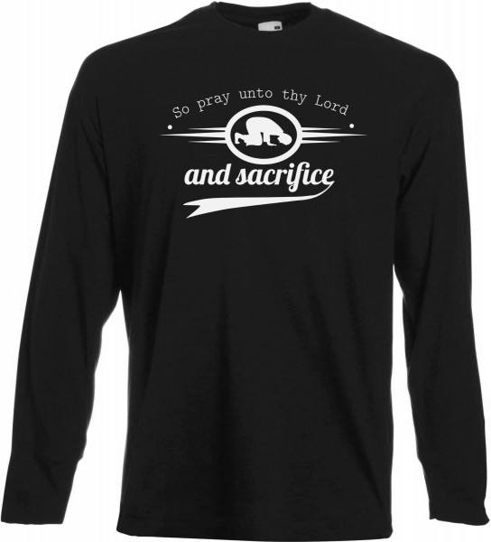 So pray unto thy Lord and sacrifice Sure Al-Kauthar Langarm T-Shirt - Muslim Halal Wear Black