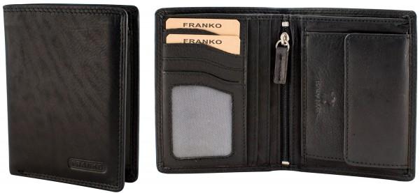 Herren Portemonnaie Geldbörse Leder Franko 1902 Schwarz Hochformat Geldbeutel Brieftasche