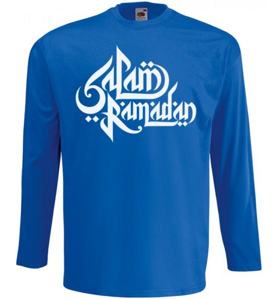 Salam Ramadan arabische Kalligraphie Langarm T-Shirt Halal Wear Blau