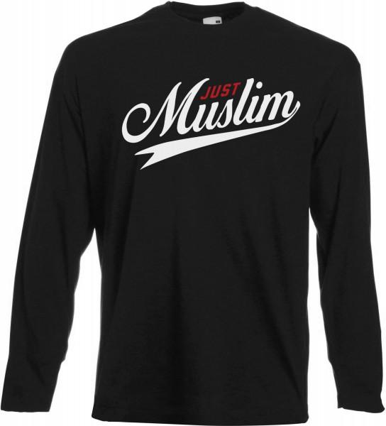 Just Muslim Langarm T Shirt Schwarz Islamische Kleidung