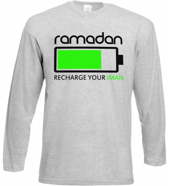 Ramadan Recharge your Iman Langarm T-Shirt - Muslim Halal Wear Grey