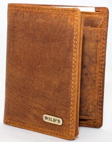 Herren Geldbörse Wild 1599 Hellbraun Leder Geldbeutel Portemonnaie Brieftasche Portmonee