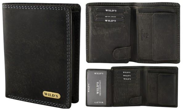 Herren Leder Geldbörse 214 Schwarz Hochformat Geldbeutel Portemonnaie Brieftasche