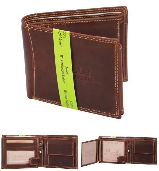 Herren Leder Geldbörse OP-91P Dunkelbraun Querformat Geldbeutel Portemonnaie Brieftasche Portmonee