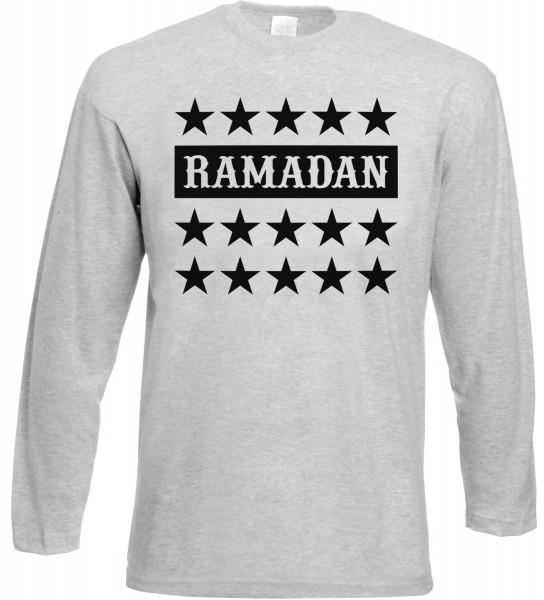 Ramadan Stars Langarm T-Shirt - Muslim Halal Wear Grey