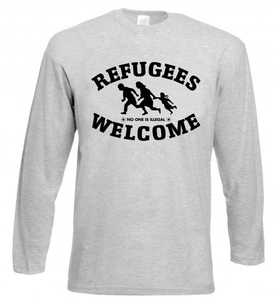 Refugees welcome Langarm Shirt Grau mit schwarzer Aufschrift - No one is illegal