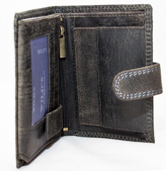 Herren Geldbörse Wild W01L Schwarz Leder Geldbeutel Portemonnaie Brieftasche Portmonee