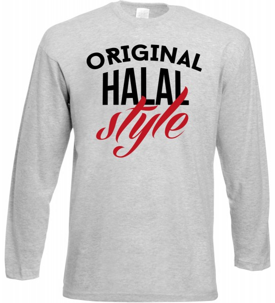 Original Halal Style Langarm T-Shirt - Muslim Halal Wear Grey