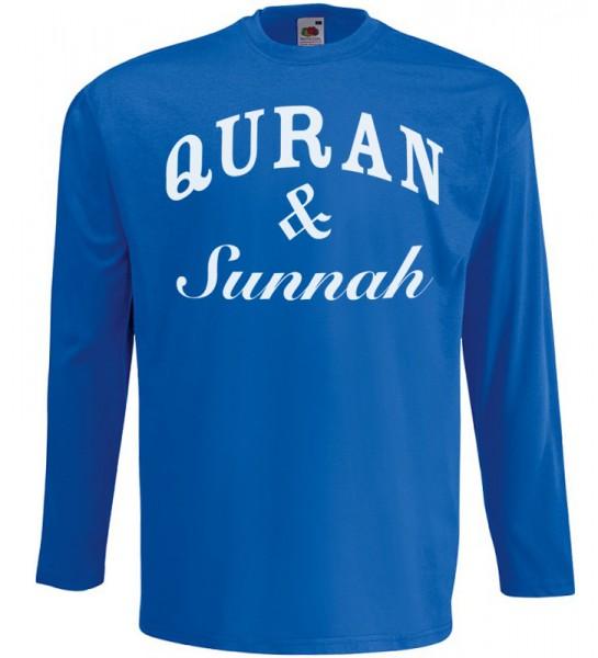 Quran & Sunnah Langarm T-Shirt Halal Wear Blau