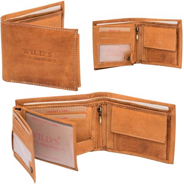 Herren Portemonnaie Geldbörse Leder Wild W02 Hellbraun Querformat Geldbeutel Brieftasche
